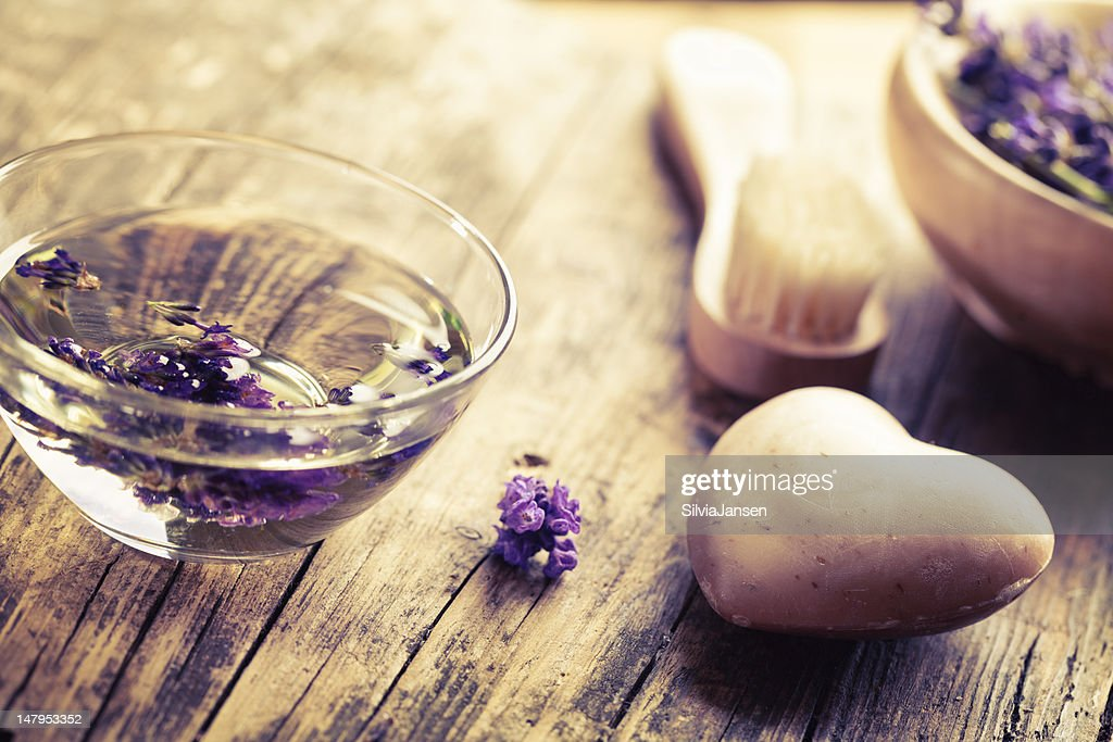 aromatherapy lavender bath salt and soapin hearth shape : Stock Photo