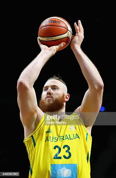 Aron Baynes of the Boomers shoots during the match between the Australian Boomers and the Pac12 College AllStars at Hisense Arena on July 12 2016 in...