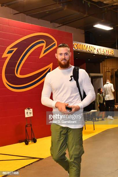 Aron Baynes of the Boston Celtics arrives at the arena before the game against the Cleveland Cavaliers on October 17 2017 at Quicken Loans Arena in...