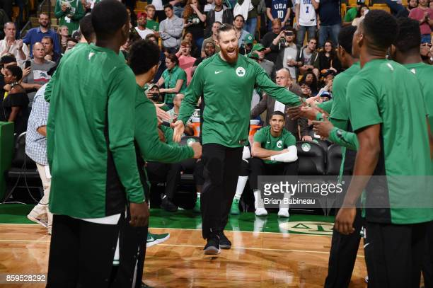 Aron Baynes of the Boston Celtics gets introduced before the preseason game against the Philadelphia 76ers on October 9 2017 at the TD Garden in...