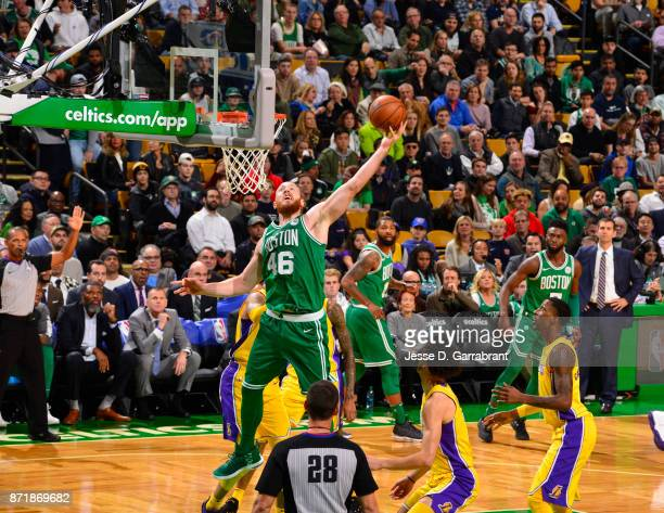 Aron Baynes of the Boston Celtics goes up with the ball during the game against the Los Angeles Lakers on November 8 2017 at the TD Garden in Boston...