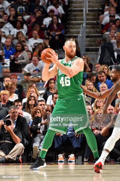 Aron Baynes of the Boston Celtics handles the ball against the Cleveland Cavaliers on October 17 2017 at Quicken Loans Arena in Cleveland Ohio NOTE...