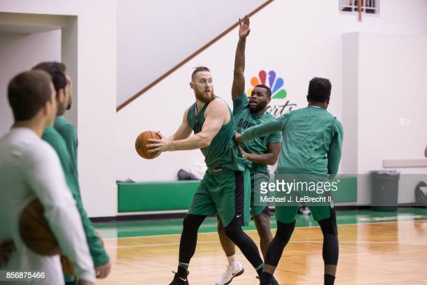 Aron Baynes of the Boston Celtics handles the ball during open practice on September 29 2017 at the Boston Celtics practice facility in Waltham...