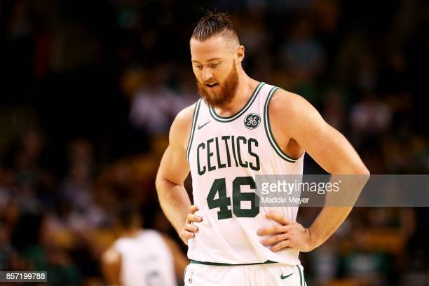 Aron Baynes of the Boston Celtics looks on during the second half against the Charlotte Hornets at TD Garden on October 2 2017 in Boston...