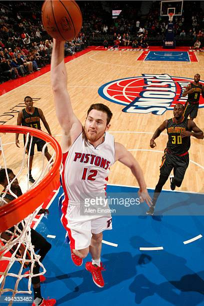 Aron Baynes of the Detroit Pistons dunks against the Atlanta Hawks during the game on October 23 2015 at The Palace of Auburn Hills in Auburn Hills...