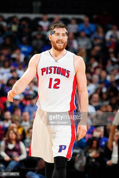 Aron Baynes of the Detroit Pistons during the game against the Indiana Pacers on December 12 2015 at The Palace of Auburn Hills in Auburn Hills...