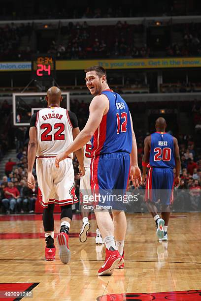 Aron Baynes of the Detroit Pistons during the preseason game against the Chicago Bulls on October 14 2015 at United Center in Chicago Illinois NOTE...