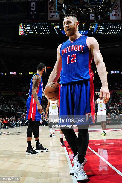 Aron Baynes of the Detroit Pistons is seen during the game against the Atlanta Hawkson December 23 2015 at Philips Arena in Atlanta Georgia NOTE TO...
