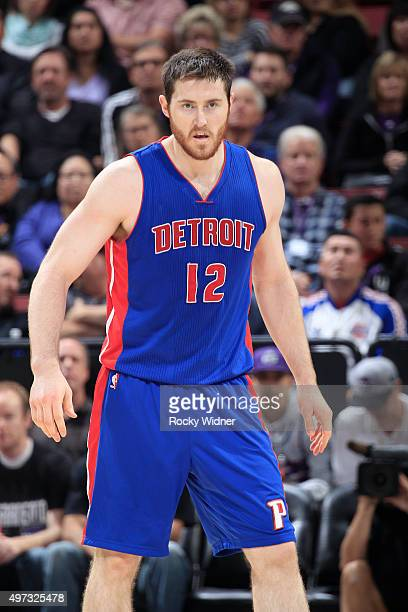 Aron Baynes of the Detroit Pistons looks on during the game against the Sacramento Kings on November 11 2015 at Sleep Train Arena in Sacramento...