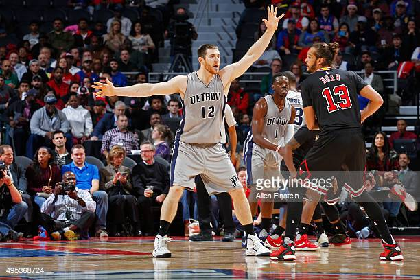 Aron Baynes of the Detroit Pistons plays defense against the Chicago Bulls on October 30 2015 at The Palace of Auburn Hills in Auburn Hills Michigan...