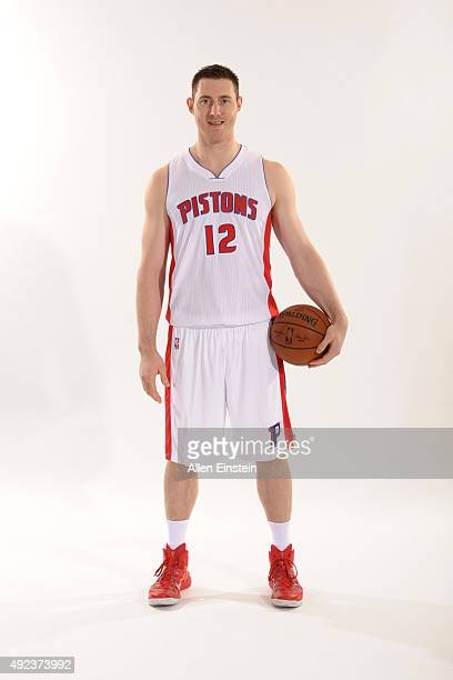 Aron Baynes of the Detroit Pistons poses during media day on September 28 2015 at The Palace of Auburn Hills in Auburn Hills Michigan NOTE TO USER...