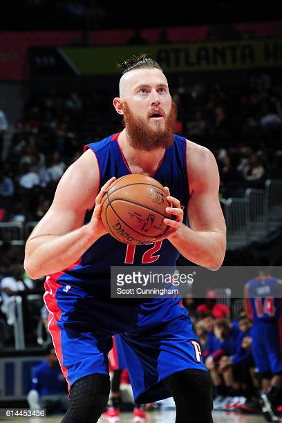 Aron Baynes of the Detroit Pistons shoots a free throw against the Atlanta Hawks on October 13 2016 at Philips Arena in Atlanta Georgia NOTE TO USER...