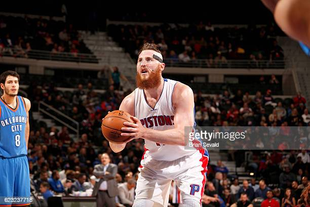 Aron Baynes of the Detroit Pistons shoots a free throw against the Oklahoma City Thunder on November 14 2016 at The Palace of Auburn Hills in Auburn...