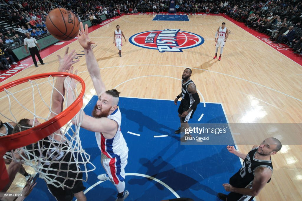 Aron Baynes #12 of the Detroit Pistons shoots the ball against the San Antonio Spurs on February 10, 2017 at The Palace of Auburn Hills in Auburn Hills, Michigan.