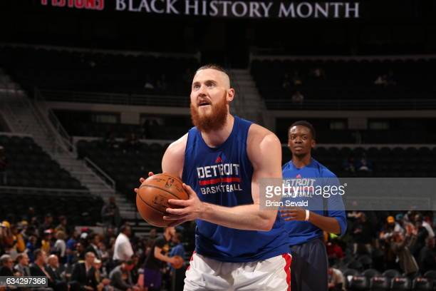 Aron Baynes of the Detroit Pistons warms up before the game against the Los Angeles Lakers on February 8 2017 at The Palace of Auburn Hills in Auburn...