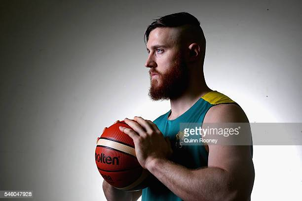 Aron Baynes poses Mission during the Australian Olympic Games Men's Basketball team announcement at Melbourne Sports and Aquatic Centre on July 11...