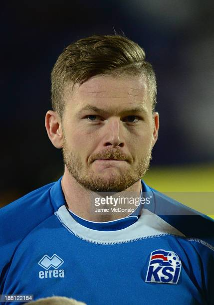 Aron Einar Gunnarsson of Iceland looks on during the FIFA 2014 World Cup Qualifier Playoff First Leg match between Iceland and Croatia at the...