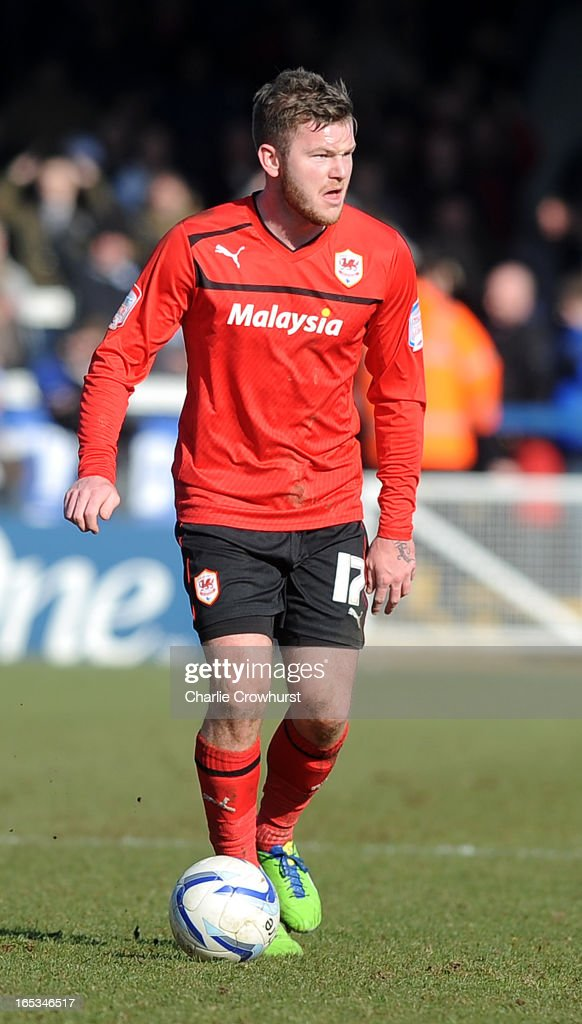 Aron Gunnarsson of Cardiff City attacks during the npower Championship match between Peterborough United and Cardiff City at London Road on March 30, 2013 in Peterborough, England,