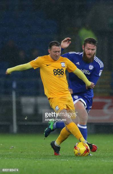 Aron Gunnarsson of Cardiff City challenges Daryl Horgan of Preston North End during the Sky Bet Championship match between Cardiff City and Preston...