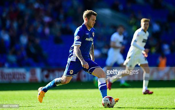 Aron Gunnarsson of Cardiff in action during the Sky Bet Championship match between Cardiff City and Bolton Wanderers at Cardiff City Stadium on April...