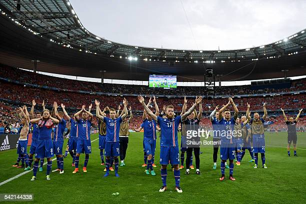 Aron Gunnarsson of Iceland applaud supporters after their team's 21 win in the UEFA EURO 2016 Group F match between Iceland and Austria at Stade de...