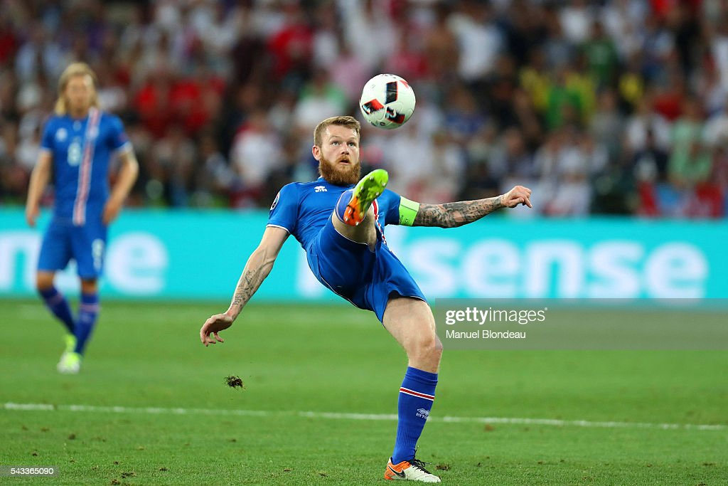 Aron Gunnarsson of Iceland during the European Championship match Round of 16 between England and Iceland at Allianz Riviera Stadium on June 27, 2016 in Nice, France.