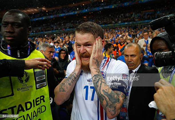 Aron Gunnarsson of Iceland is seen after the UEFA EURO 2016 quarter final match between France and Iceland at Stade de France on July 3 2016 in Paris...