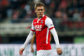 Aron Johannsson of AZ in action during the Dutch Eredivisie match between AZ Alkmaar and SC Cambuur held at the AFAS Stadion on March 21 2015 in...