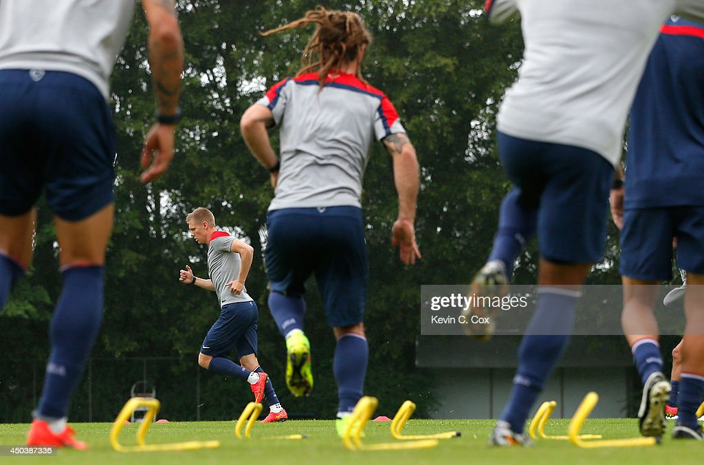 Aron Johannsson of the United States works out during their training session at Sao Paulo FC on June 10, 2014 in Sao Paulo, Brazil.