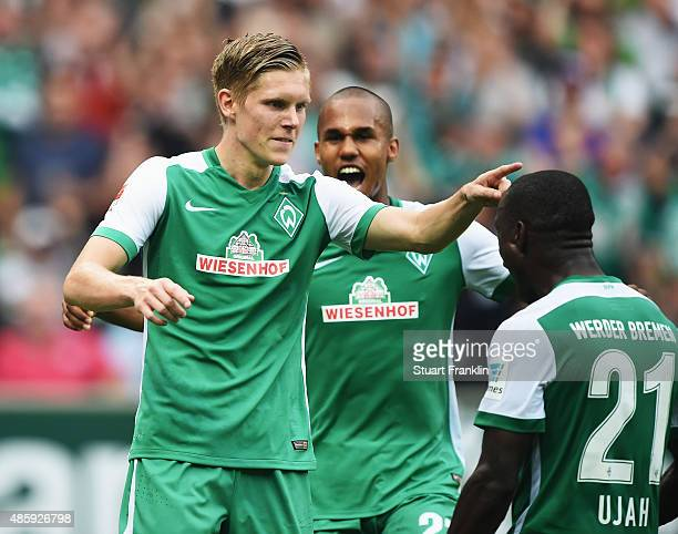 Aron Johansson of Bremen celebrates scoring his goal during the Bundesliga match between Werder Bremen and Borussia Moenchengladbach at Weserstadion...