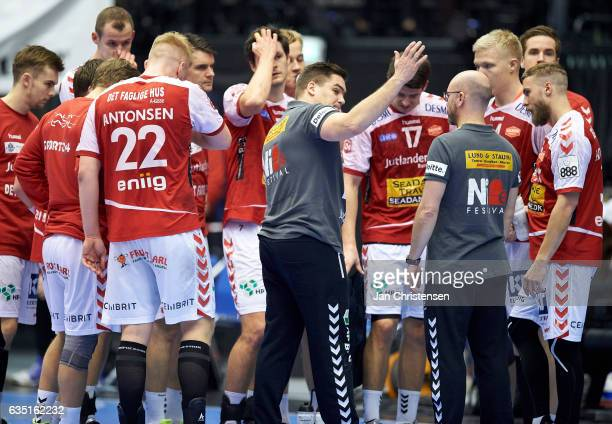 Aron Kristjansson head coach of Aalborg Handbold in action during the Santander Final4 3 4 place match between KIF Kolding Copenhagen and Aalborg...