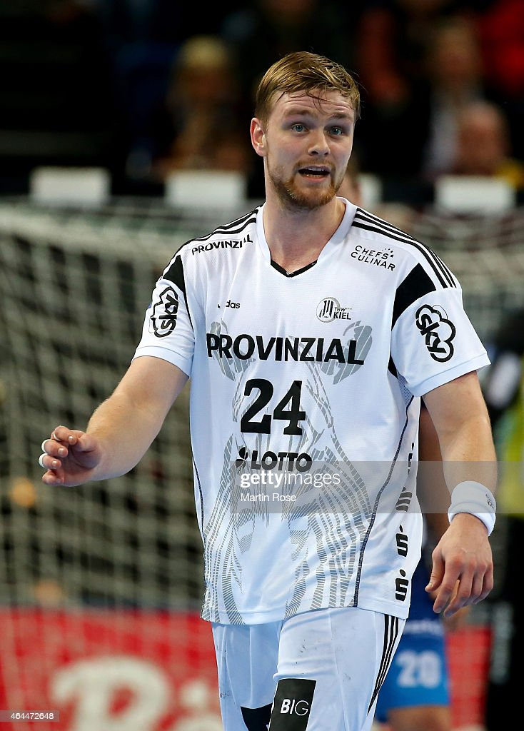 <a gi-track='captionPersonalityLinkClicked' href=/galleries/search?phrase=Aron+Palmarsson&family=editorial&specificpeople=5766529 ng-click='$event.stopPropagation()'>Aron Palmarsson</a> of Kiel looks on during the DKB HBL Bundesliga match between THW Kiel and Balingen-Weilstetten at Sparkassen Arena on February 25, 2015 in Kiel, Germany.