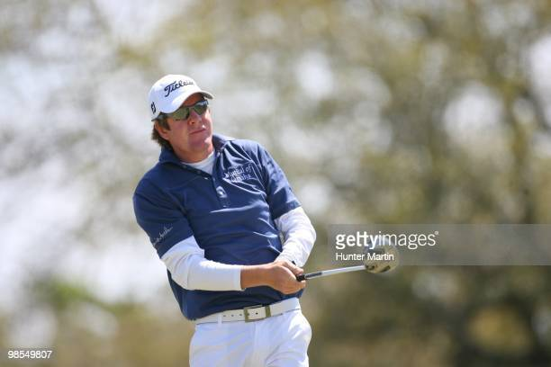 Aron Price hits a shot during the final round of the Chitimacha Louisiana Open at Le Triomphe Country Club on March 28 2010 in Broussard Louisiana