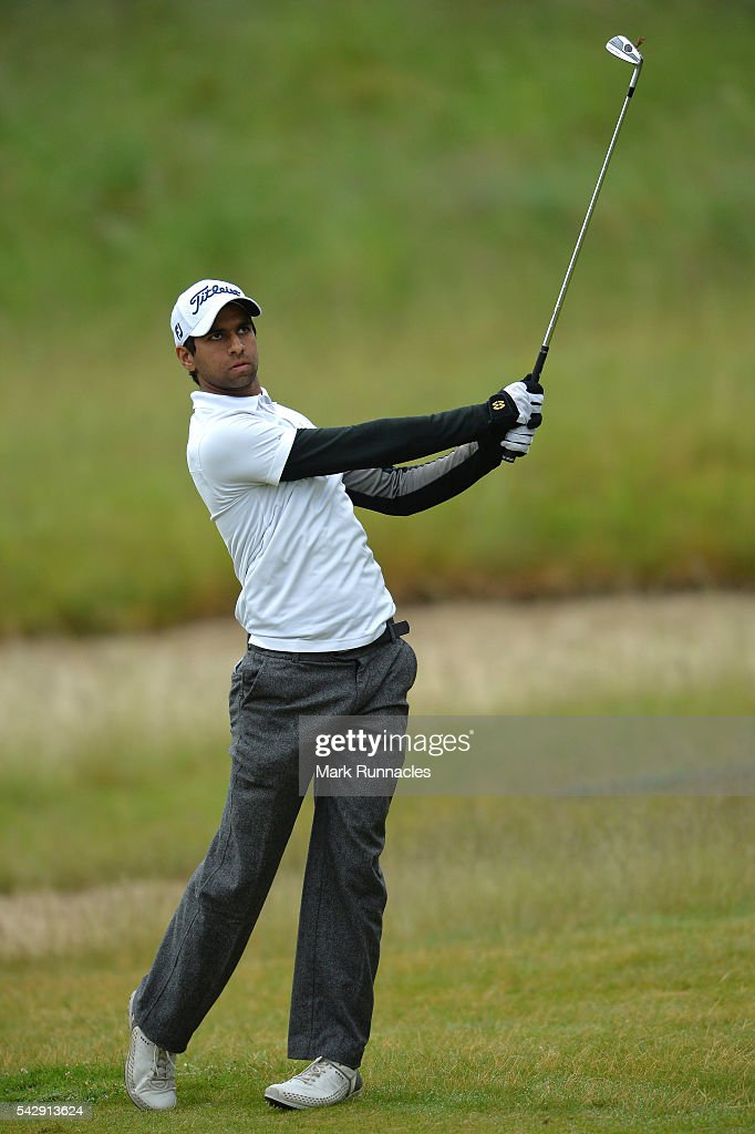 Aron Rai of England on his second shot to the 1st during the third day of the 2016 SSE Scottish Hydro Challenge at the MacDonald Spey Valley Golf Course on June 25, 2016 in Aviemore, Scotland.