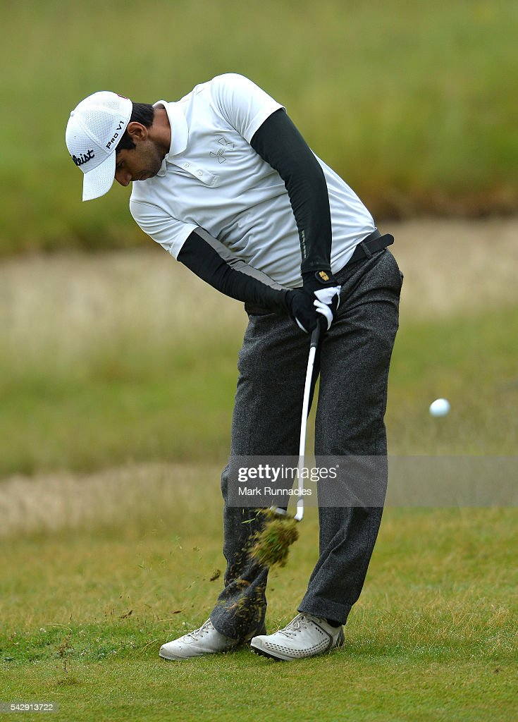 Aron Rai of England second shot to the 1st during the third day of the 2016 SSE Scottish Hydro Challenge at the MacDonald Spey Valley Golf Course on June 25, 2016 in Aviemore, Scotland.