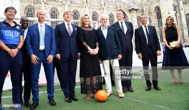 Aron Winter Edgar Davids King Willem Alexander Queen Maxima of the Netherlands Pierre van Hooijdonk Clarence Seedorf and Mayor of Milan Giuseppe Sala...
