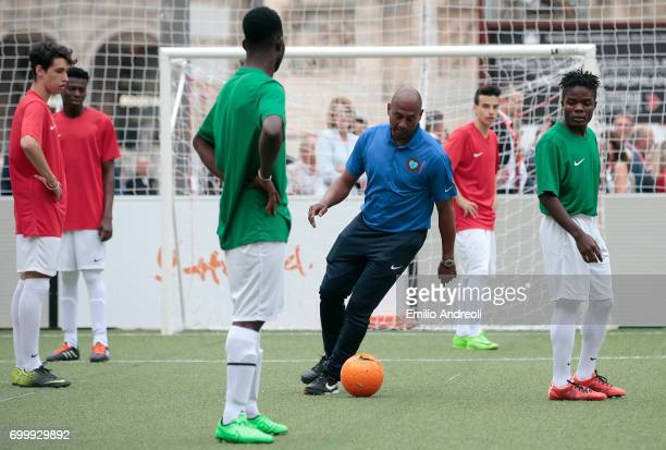 Aron Winter in action during a football clinic for integration organized by Italian Football Federation on June 22 2017 in Milan Italy
