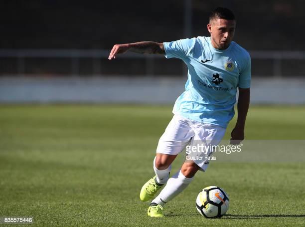 Arouca forward Paolino Bertaccini from Belgium in action during the Segunda Liga match between CD Cova da Piedade and FC Arouca at Estadio Municipal...