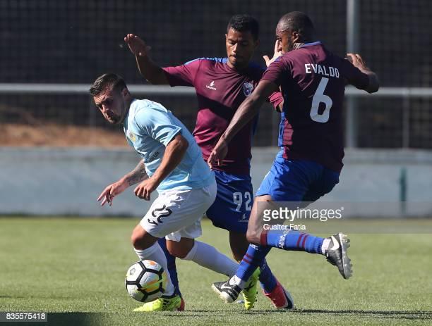 Arouca forward Paolino Bertaccini from Belgium with CD Cova da Piedade forward Dieguinho from Brazil and CD Cova da Piedade defender Evaldo from...