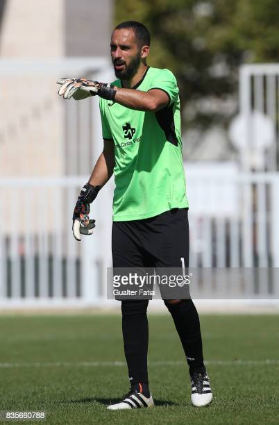 Arouca goalkeeper Rafael Bracali from Brazil in action during the Segunda Liga match between CD Cova da Piedade and FC Arouca at Estadio Municipal...