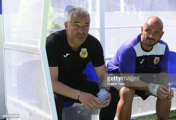 Arouca head coach Jorge Costa from Portugal before the start of the Segunda Liga match between CD Cova da Piedade and FC Arouca at Estadio Municipal...