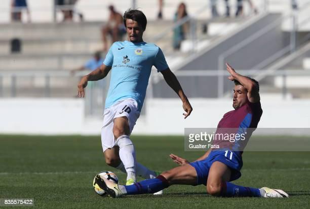 Arouca midfielder Aleks Palocevic from Serbia with CD Cova da Piedade midfielder Thiago Freitas from Brazil in action during the Segunda Liga match...