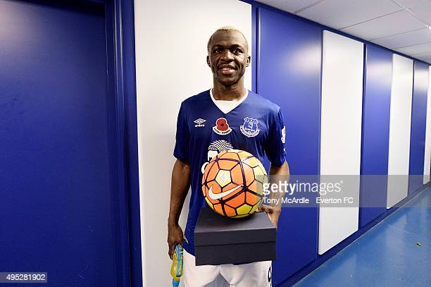 Arouna Kone and the match ball after he scores a hattrick of goals during the Barclays Premier League match between Everton and Sunderland at...