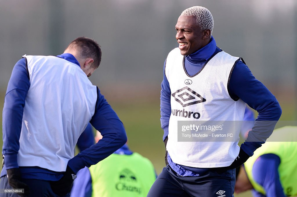 Arouna Kone during the Everton training session at Finch Farm on February 11, 2016 in Halewood, England.