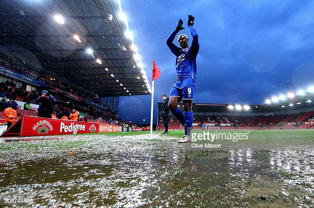 Arouna Kone of Everton applauds away supporters after the Barclays Premier League match between Stoke City and Everton at Britannia Stadium on...