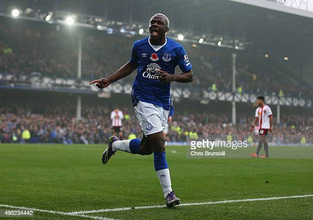 Arouna Kone of Everton celebrates as he scores their fifth goal during the Barclays Premier League match between Everton and Sunderland at Goodison...