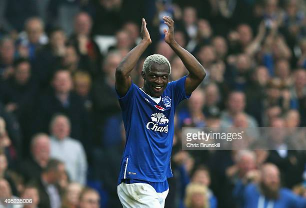 Arouna Kone of Everton celebrates as he scores their sixth goal and completes his hat trick during the Barclays Premier League match between Everton...