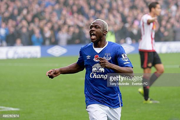 Arouna Kone of Everton celebrates his second goal during the Barclays Premier League match between Everton and Sunderland at Goodison Park on...