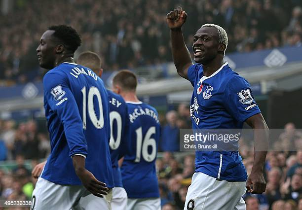 Arouna Kone of Everton celebrates scoring his side's fifth goal during the Barclays Premier League match between Everton and Sunderland at Goodison...