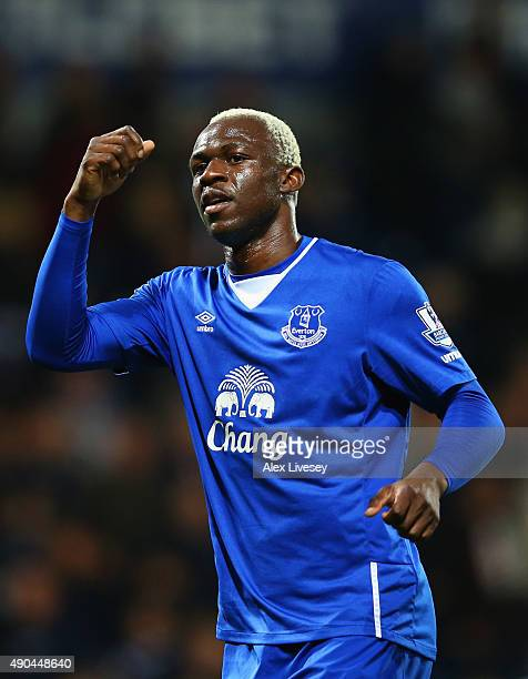 Arouna Kone of Everton celebrates victory after the Barclays Premier League match between West Bromwich Albion and Everton at The Hawthorns on...